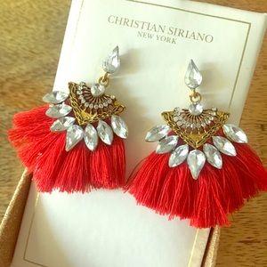 Beautiful Red Fringe Earrings